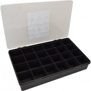 Wham Storage Large Organiser Box 7.01 with 24 Dividers - Graphite/Clear - 13800