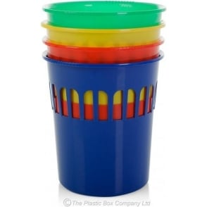 Wham Storage Casa Colourful Plastic Round Waste Paper Bin - Red, Green, Yellow and Blue