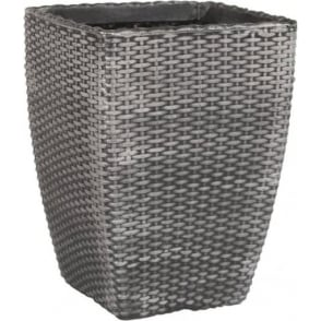Pack of 2 - Tall Rattan Style Plastic Planter Pewter