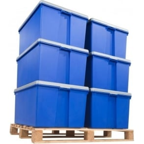 Wham Storage Pack of 6 - 150 Litre Extra Large Wham Bam Strong Tough Plastic Boxes with Lids