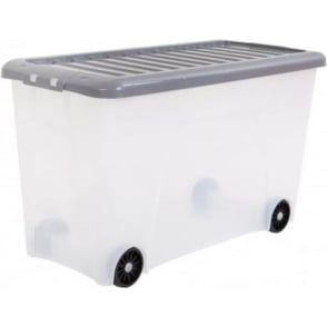 Wham Storage Pack of 12 - 115 Litre Nice Plastic Storage Box With Wheels and Silver Lid
