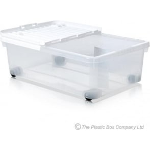 Wham Storage Pack of 5 - 32 Litre Under Bed Plastic Storage Boxes with Wheels and WHITE Lids
