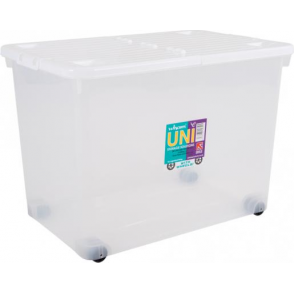 Pack of 2 - 80 Litre Storage Box Wheels and Folding Lid - Clear/White
