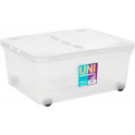 30 Litre Under Bed Plastic Box with Wheels and Folding Lid
