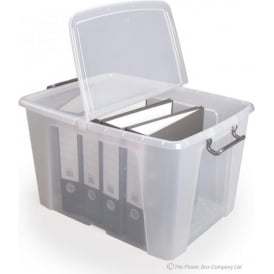 Strata Pack of 3 - 65 Litre Smart Storemaster Clear Plastic Storage Boxes with Folding Lids