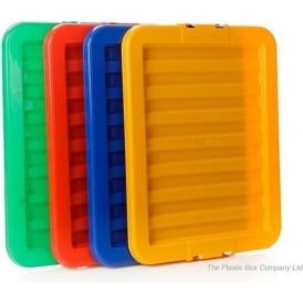 Wham Storage Pack of 5 - LIDS ONLY for the 35L Stack and Store Boxes - Red, Blue, Green, Yellow and Clear