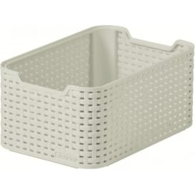 Curver UK Rattan Style Small Stacking Box - Cream