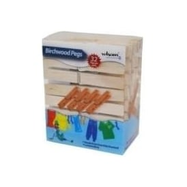 (d) Pack of 32 Birch Wood Pegs