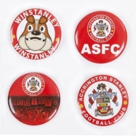 Accrington Stanley Pack of 4 Button Badges