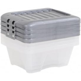 Wham Storage Pack of 4 - 9 Litre Nice Boxes with Lids - Silver Lid