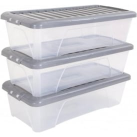 Wham Storage Pack of 3 - 55 Litre Nice Boxes with Lids - Silver Lid