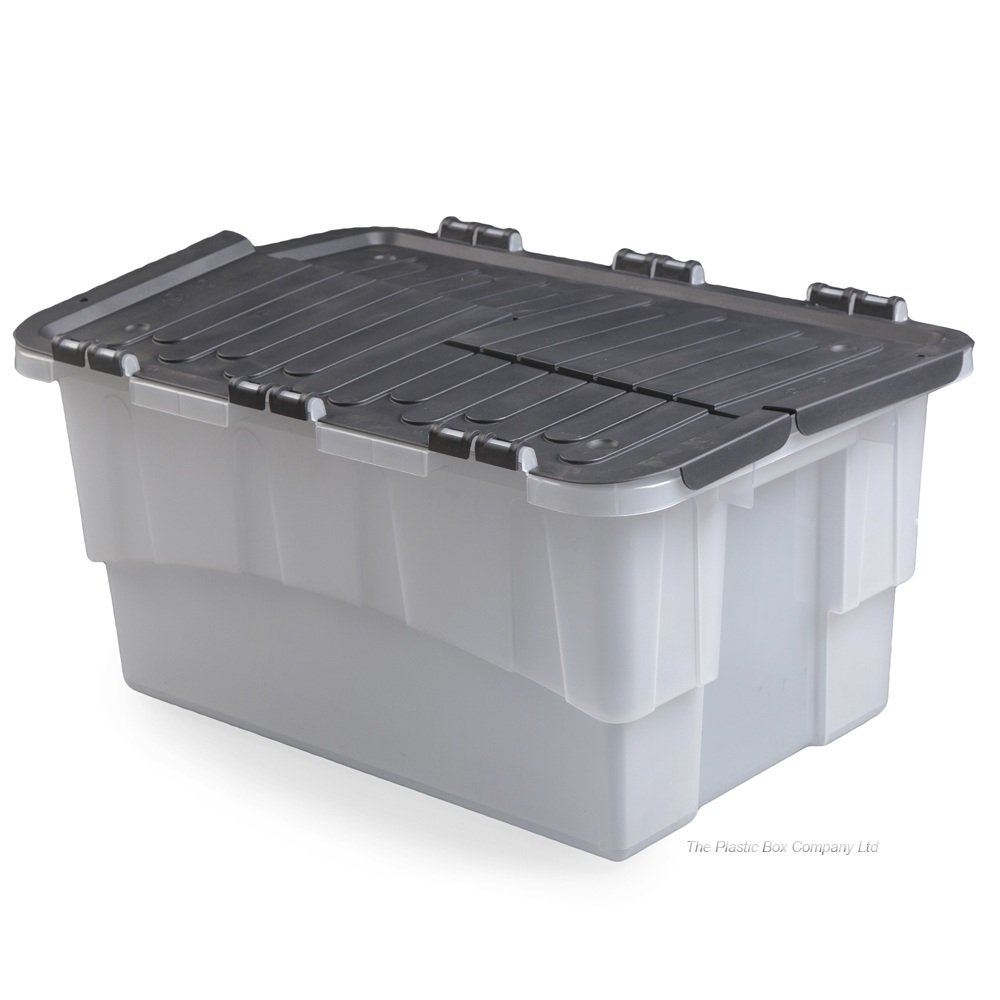 dnu pack of 4 40 litre croc plastic storage boxes with flip lids u2039