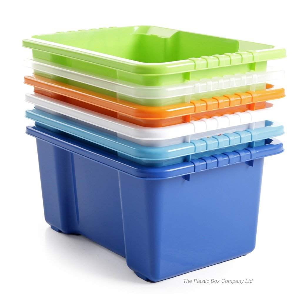 dnu pack of 5 10 litre stack and store plastic storage boxes