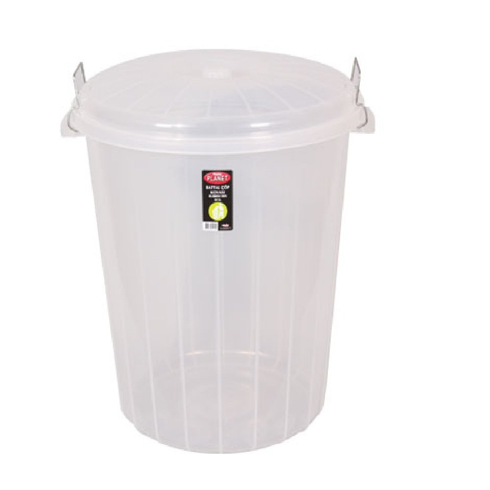 Buy Large 50lt Clear Plastic Bin With Clip On Lid