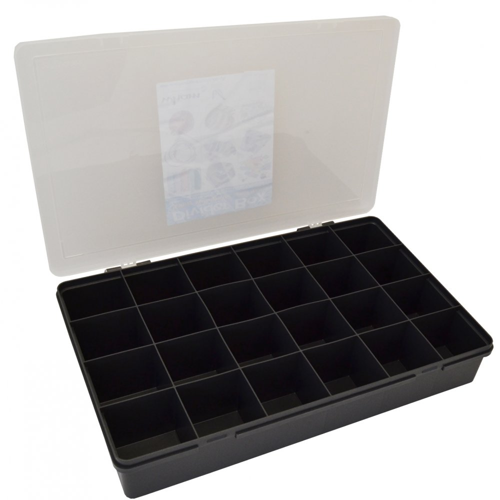 wham storage large organiser box 701 with 24 dividers graphiteclear 13800 - Plastic Christmas Tree Storage Box