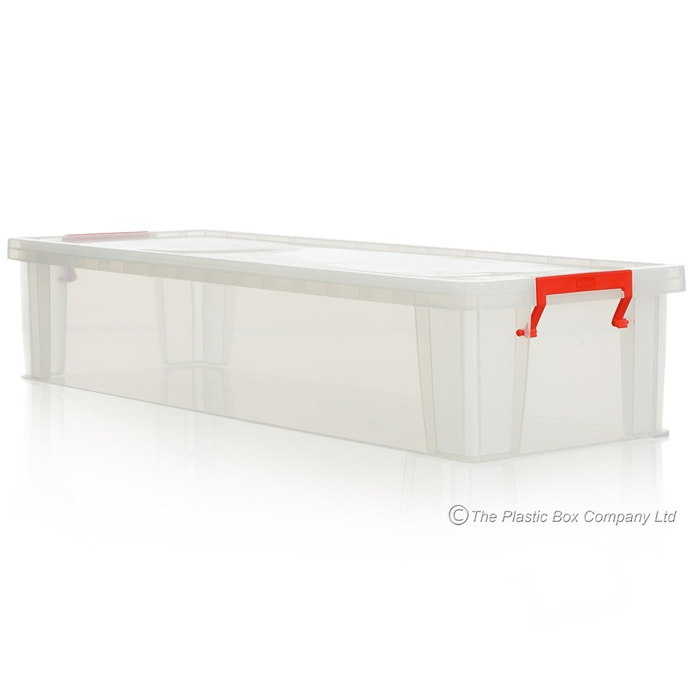 Pack Of 2   27 Litre Allstore Long Shallow Box With Clip On Lid. U2039