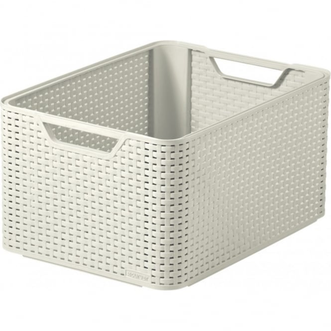 Rattan Style Large Stacking Box - Cream