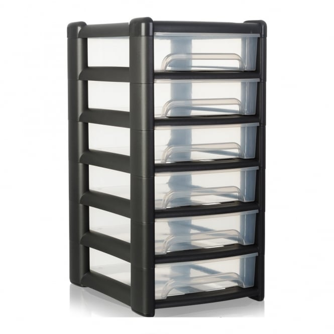 Shallow Uni Plastic Six Drawer Unit