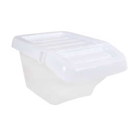 SINGLE - 30 Litre Clear Recycling Stacking Box with White Lid
