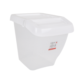 SINGLE - 50 Litre Large Clear Plastic Recycling Box with White Lift Up Hinged Lid