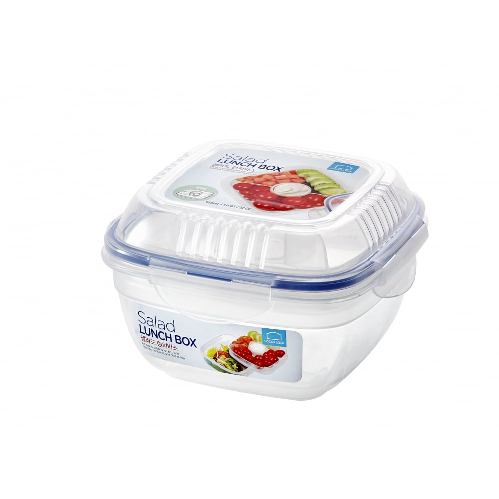 7660ac5f9162 Square Salad Lunch Box with Tray and Dressing Pot