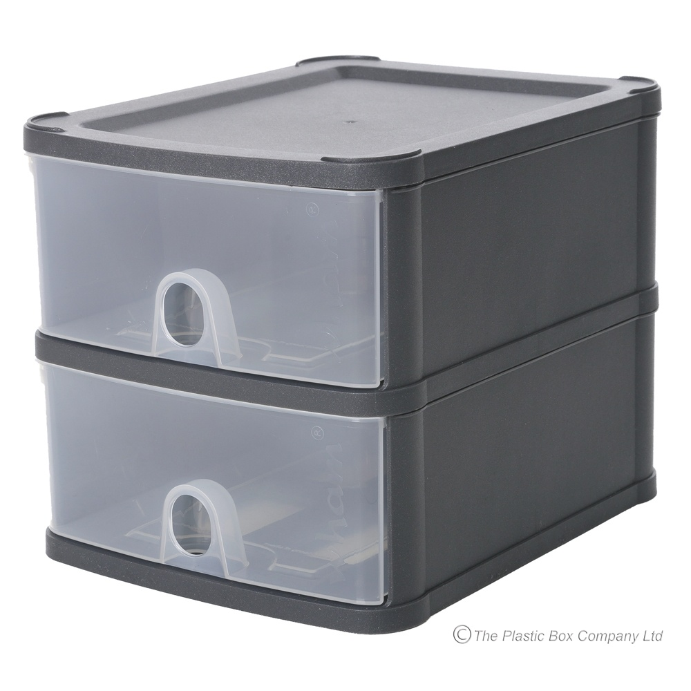 Two A5 Drawer Handi Stackable Modular Drawer System Unit  sc 1 st  Plastic Box Shop & Wham Handy Plastic Stackable Two 2 Drawer Unit A5 Paper