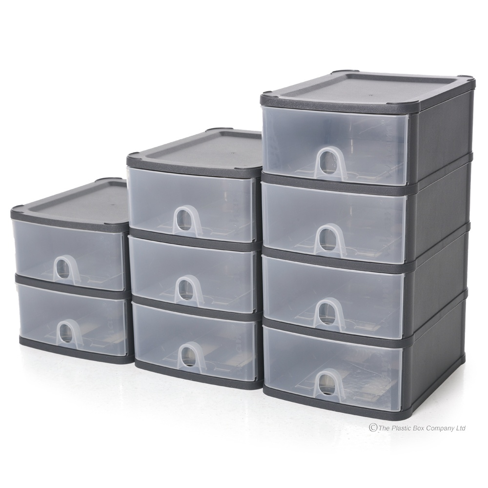 Two A5 Drawer Handi Stackable Modular Drawer System Unit  sc 1 st  Plastic Box Shop & Wham Handy Plastic Stackable Two 2 Drawer Unit A5 Paper